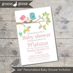 Bird Nest Baby Shower invitation  (PINK) DIY Printable Baby shower girl Bird…