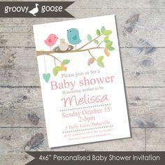 Bird Nest Baby Shower invitation  (PINK) DIY Printable Baby shower girl Bird theme baby shower baby boy baby shower invitation by groovygoose on Etsy