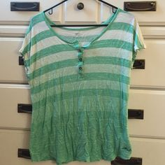 Green Ombre Top flowy, light, buttons up or down, size XL but fits a medium or large Levi's Tops Tees - Short Sleeve