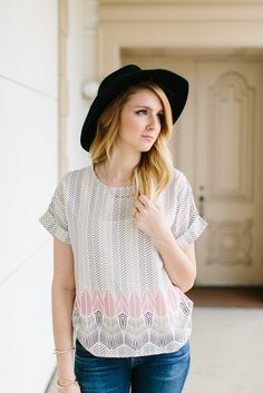 Printed Rolled Sleeve Blouse- Ivory | |  THE ROSE NEST
