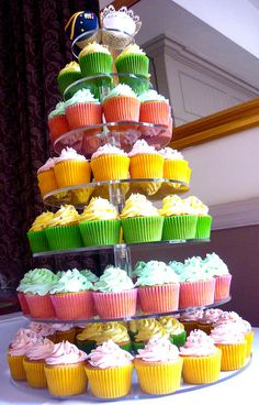Pink, yellow and green themed wedding cupcake tower by Star Bakery (Liana), via Flickr