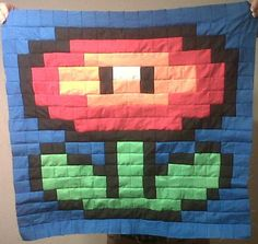 Mario Bros. Fire Flower Quilt Square