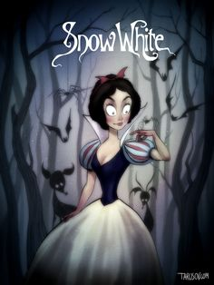 The spiders in this Snow White illustration transform the fairy tale from sweet to slightly creepy. #refinery29 http://www.refinery29.com/2016/01/102292/disney-movies-tim-burton-style#slide-5
