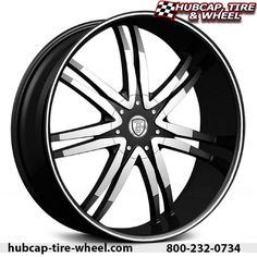 Broghini BW14 black and machined wheels and rims. FREE shipping.