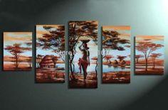 Landscape High Quality Blue Water African People Tribal Life Lake Oil Painting On Canvas Modern 5 Pcs Group Wall Art Home Decor