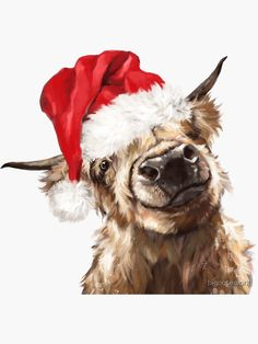 Christmas Animals, Christmas Images, Christmas Art, Vintage Christmas, Xmas, Christmas Drawing, Christmas Paintings, Highland Cow Art, Highland Cow Painting