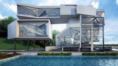 Modern Futuristic Villa Design by Urban Office Architecture, Duchess County, New York, USA Villa Design, House Design, Villa Architecture, Amazing Architecture, Architecture Geometric, Architecture Journal, Futuristic Architecture, Beautiful Home Designs, Beautiful Homes
