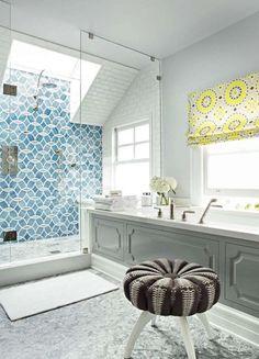 Shower Tile - House of Turquoise: Massucco Warner Miller Interior Design Modern Bathroom Tile, Bathroom Tile Designs, Diy Bathroom Decor, Bathroom Colors, Bath Decor, Bathroom Interior, Master Bathroom, Bathroom Ideas, Gold Bathroom