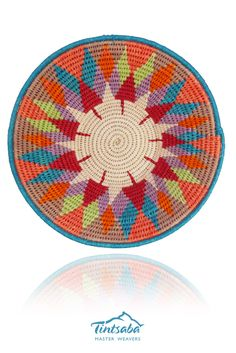 TINTSABA - Sisal basket handmade in Swaziland, 16cm www.Tintsaba.com Sisal, Rainbow Colors, Basket, Tapestry, Patterns, My Love, How To Make, Handmade, Design