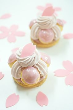 Traditional St. Honore French pastry with sakura (cherry) flavor.