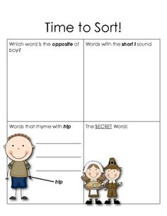 """Sample sorting page from """"Making Words - Thanksgiving Words""""  (This set of materials includes the student letter tiles, word cards, and sorting sheets for four lessons.)  $2.00"""