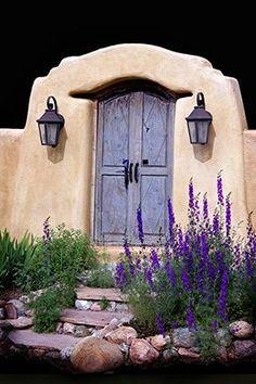 Blue door, New Mexico -souvenir de maison d'enfance, petite porte humble dont… Old Doors, Windows And Doors, Santa Fe Style, When One Door Closes, Door Gate, Door Entry, Land Of Enchantment, Unique Doors, Grand Entrance