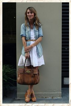 White, Denim shirt, tan accessories. #lucylaucht