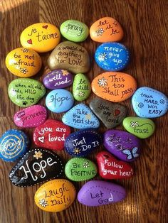 80 Top Painted Rock Art Ideen mit A. - -Atemberaubende 80 Top Painted Rock Art Ideen mit A. - - Love, hope, faith rock painting video tutorial drawing products - Drawing Products Words of Wisdom Painted Stones Set of 10 Affirmation Rocks Kids Crafts, Diy And Crafts, Craft Projects, Arts And Crafts, Kids Diy, Creative Crafts, Creative Ideas For Art, Creative Painting Ideas, Elderly Crafts