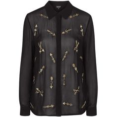 TOPSHOP Embellished Shirt With Arrows (290 RON) ❤ liked on Polyvore featuring tops, black, black cotton shirt, cotton shirts, party tops, party shirts and see through tops