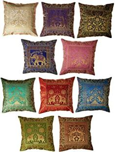 10 Pc Lote Seda Cubrezapatillas Decoración de Hogar, Cubierta de Almohada de Brocado Seda India, Cubierta de Almohada Banarsi hecha a mano 16 X 16 Pulgadas