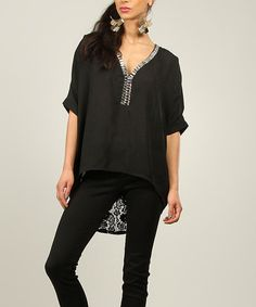 This Black & Silver Lace Hi-Low Top by La Fille du Couturier is perfect! #zulilyfinds