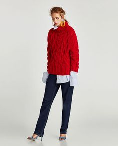 Image 1 of OVERSIZED CABLE-KNIT SWEATER from Zara