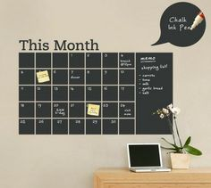 Simple Shapes - Chalkboard Calendar with Memo Wall Decal - Stay organized with the help of this chalkboard wall calendar. This calendar wall. Chalkboard Wall Calendars, Chalkboard Paint, Calendar Wall, Blackboard Wall, Chalk Paint, Office Calendar, Black Chalkboard, Family Calendar, Calendar Design