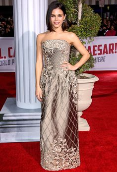 JENNA DEWAN-TATUM in a metallic, strapless  embroidered brocade gown with Irene Neuwirth jewelry at the Hail, Caesar! premiere