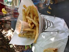 These may be THE BEST pomme frites I've ever had.  @ Creperie Bouchon in downtown Asheville.