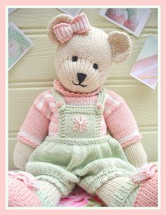 Can't wait to make this lovely teddy bear come to life! CANDY Bear/ Toy/ Teddy Bear Knitting Pattern/ by maryjanestearoom Teddy Bear Knitting Pattern, Knitted Teddy Bear, Teddy Bears, Teddy Bear Patterns, Crochet Teddy, Knitted Dolls, Crochet Toys, Knit Crochet, Yarn Dolls