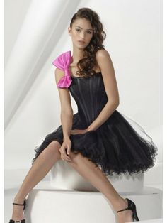 Organza A-Line Strapless Neckline Fitted Bodice Cocktail Dress