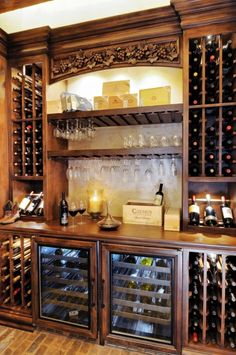 """Glass Racks in Butler's Pantry?  Too many wine bottles... change to cabinets. Minus the """"grape"""" details!"""
