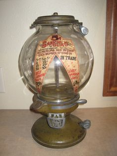 old coin operated machines | Old Antique Sanichu Columbus Gumball Peanut Candy Machine penny nickel