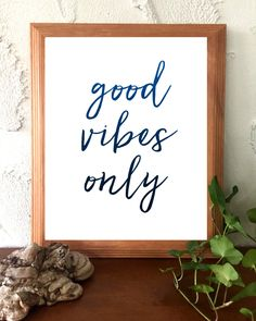 Printable Instant Download Navy Blue and White Good Vibes Only Inspirational Quote Printable Instant Download by BoodaDesigns on Etsy