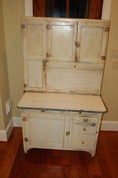 Antique original hoosier cabinet with ceramic top