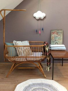 """A bassinet, bassinette, or cradle is a bed specifically for babies from birth to about four months, and small enough to provide a """"cocoon"""" that small babies find comforting. Baby Bedroom, Baby Room Decor, Nursery Room, Kids Bedroom, Baby Bassinet, Baby Cribs, Creative Kids Rooms, Baby Changing Tables, Ideas Hogar"""