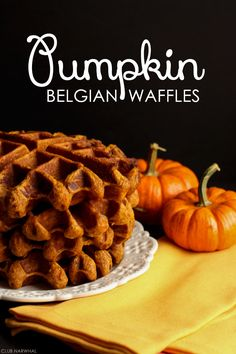Pumpkin Belgian Waffles 2 large eggs  1 cup canned pumpkin (not canned pumpkin pie filling)  1 cup buttermilk (can substitute with regular milk)  4 tablespoons unsalted butter, melted  1/4 cup light brown sugar  3 tablespoons cornstarch  1 1/4 cup all purpose flour  1 1/2 teaspoon baking powder  1/2 teaspoon salt  2 teaspoons cinnamon  1 teaspoon ginger  1/2 teaspoon nutmeg