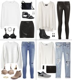 White sweater four ways: skinny or boyfriend jeans, coated black skinny jeans, black leather skirt, black sandals, beige ankle boots, grey sneakers, black ankle boots