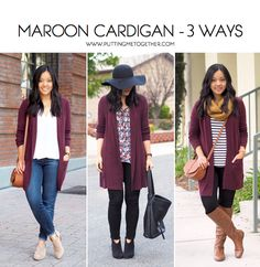 3 Ways to Wear a Maroon Cardigan - Outfit Source by maroon outfit Maroon Cardigan Outfit, Burgandy Cardigan, Pullover Outfit, Cardigan Outfits, Casual Outfits, Cute Outfits, Fashion Outfits, Womens Fashion, Maroon Leggings