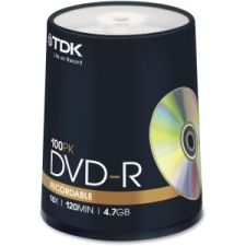 Product Detail for TDK48520: DVD-R Discs, 4.7GB, 16x, 100/PK, Silver