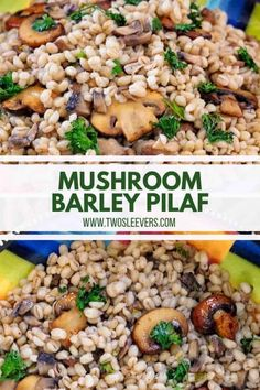 chicken side dishes This Barley Pilaf with Mushrooms is so delectably savory that you'll wonder why you've never made it before! It's the perfect side dish for most everything! Instant Pot Barley Recipe, Barley Side Dish Recipe, Side Dish Recipes, Barley Recipes, Mushroom Recipes, Barley Pilaf Recipe, High Protein Vegetarian Recipes, Vegetarian Side Dishes, Healthy Recipes
