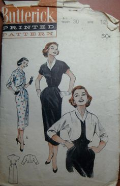 Vintage Butterick 6814 Sewing Pattern - Dress and Cropped Jacket Size 12 - Bust 30