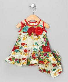 White & Red Flower Tiered Dress & Diaper Cover - Infant