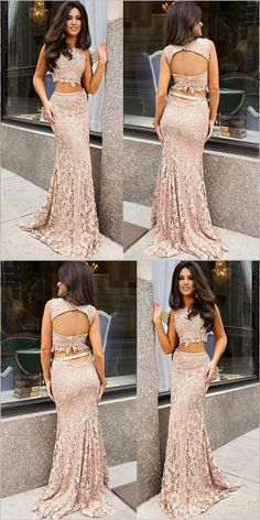 Outlet Easy Backless Prom Dresses, Mermaid Party Dress, Pink Party Dress, Blush Party Dress on Luulla Fancy Prom Dresses, Prom Dresses Two Piece, Pink Party Dresses, Prom Dresses Long With Sleeves, Backless Prom Dresses, Blush Dresses, Dress Prom, Dress Lace, Homecoming Dresses