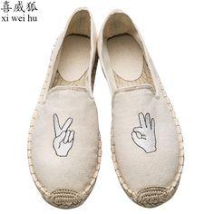 24.39$  Buy here - http://ali7e9.shopchina.info/go.php?t=32805942694 - 2017 Handmade Women's Canvas Espadrilles Flats Jute Hemp Shoes Embroidered Women Loafers Plimsolls Canvas Alpargatas Linen  #buyininternet