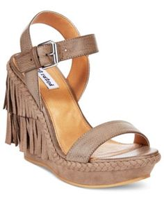 Not Rated Roaring Ruby Fringe Wedge Sandals