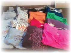 The plan:  Turn these 20 T-shirts into upcycled projects with as little waste as possible