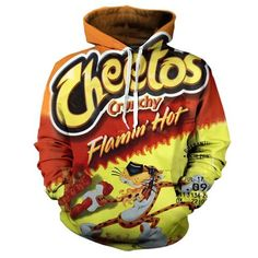 Details Get Into This Super Rad All Over Print Flamin Hot Cheetos Hoodie Featuring Incredible Full Sleeves And A Deliciously Soft High Quality Cotton