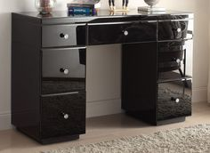 Cosy black mirrored furniture rio crystal black glass dressing table mirror store categories uk friday with trim and white Black Dressing Tables, Dressing Table With Drawers, Bedroom Dressing Table, Dressing Table Mirror, Dressing Rooms, Mirrored Furniture, My Furniture, Furniture Vanity, Bedroom Furniture