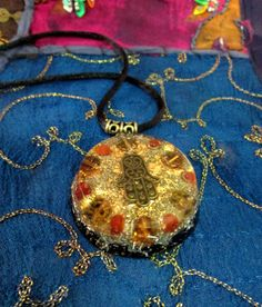 Orgone Pendant - Carnelian and Citrine - LARGE - EMF Protection and Crystal Healing Jewelry - Orgone Energy