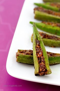 Masala Stuffed Okra - Okra is packed with fragrant Indian spices for a vegetarian side dish recipe that is pleasing to the palate.