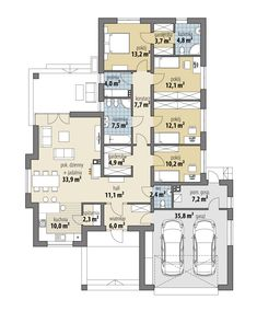Proteusz - Dobre Domy Flak & Abramowicz 4 Bedroom House Plans, Dream House Plans, House Floor Plans, My Dream Home, Architectural House Plans, House Md, Garden Living, Architecture Plan, Living Furniture