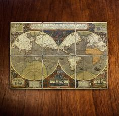 Antique World Map Mural ca. 1595 by dArlhacDesign on Etsy