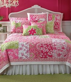 Pretty pink and green patchwork bedding and girls bedroom decor!